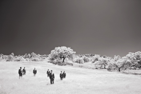 Groom's Men in infra red at Figueroa Mountain Farmhouse Wedding
