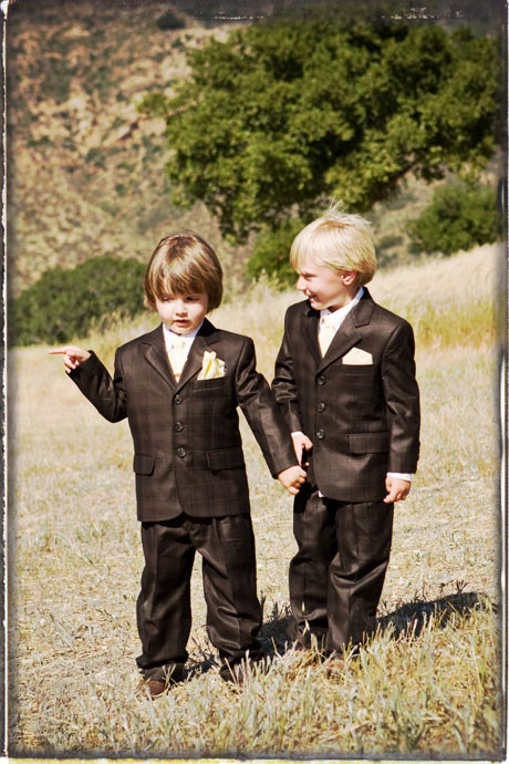 Ring bearers during wedding ceremony at Figueroa Mountain Farmhouse wedding
