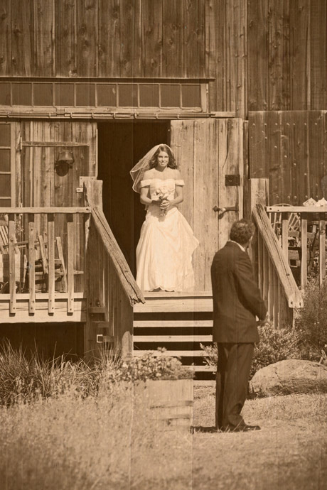 Father of the bride waiting to walk bride down the aisle at Figueroa Mountain Farmhouse Wedding sepia toned