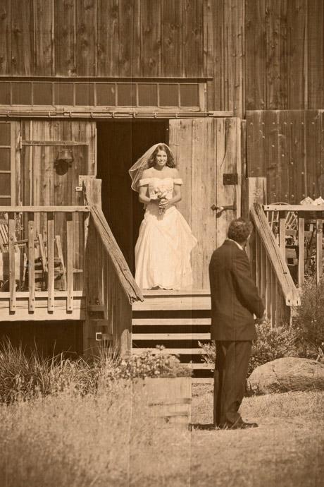 Father of the bride waiting to walk bride down the aisle at Figueroa Mountain Farmhouse Wedding sepia toned