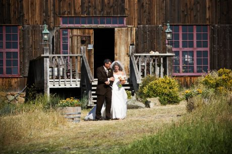 Bride and father of the bride during wedding ceremony at Figueroa Mountain Farmhouse Wedding
