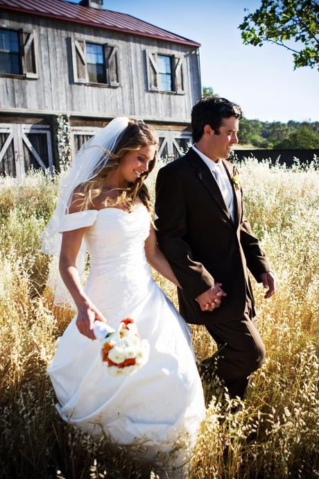 Bride and Groom at their wedding at the rustic Figueroa Mountain Farmhouse in Santa Barbara