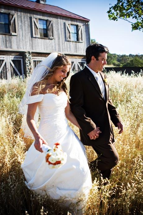 Bride and Groom at their wedding at the rustic Figueroa Mountain Farmhouse in Santa Barbara