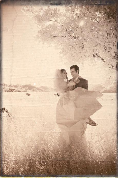 Bride and Groom, infra red wedding photograph sepia toned, Figueroa Mountain Farmhouse in Santa Barbara