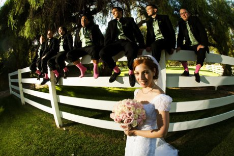 Bride with Groom's Men at Brookside Equestrian Center Wedding