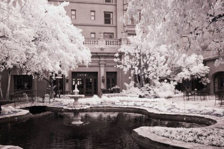 Infrared photograph of the couryard area of the Langham Hotel.