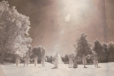 Bride and Bride's Maids in Infrared at a Brookside Equestrian Center Wedding