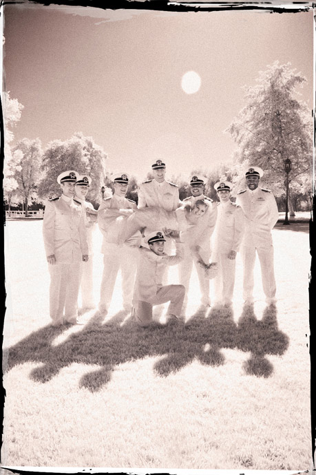 Infrared image of Bride being lifted up by members of the U.S. Navy at a Brookside Equestrian Center Wedding