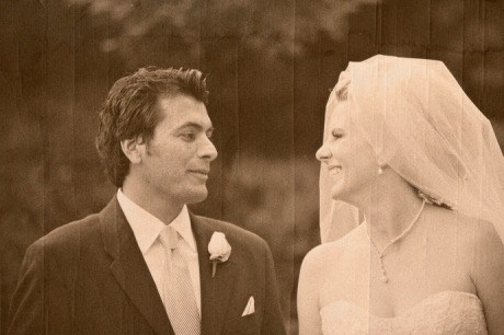 Bride and Groom after their Wedding Ceremony at the Langham Hotel in Pasadena, California.