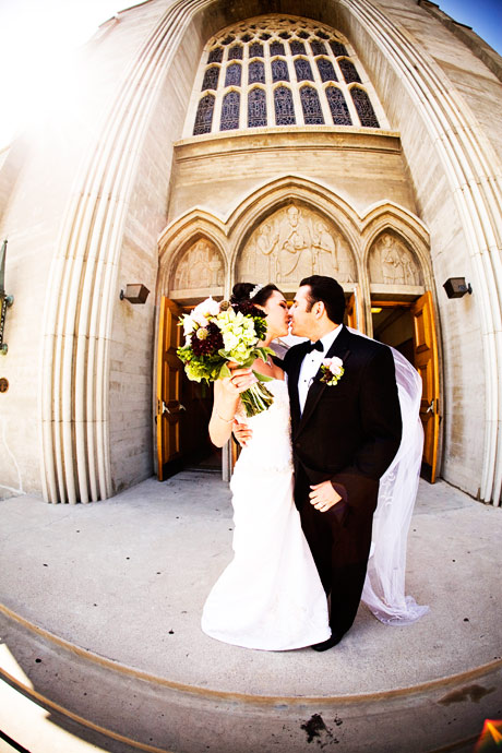 Bride and Groom just married at a Catholic Church in Los Angeles, California