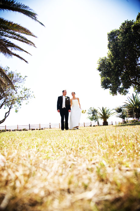 Bride and Groom at Point Vicente Lighthouse Park after their Wedding at La Venta Inn