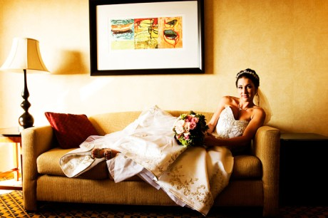 Beautiful Bride Brianne relaxing before her Wedding Reception at the Marina Del Rey Marriott Hotel.