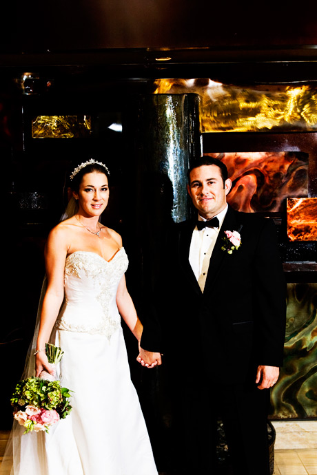 Bride and Groom in the Lobby of the Marina Del Rey Marriott Hotel in Los Angeles, California