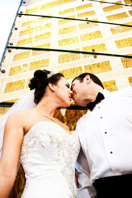 Bride and Groom kissing at the Marina Del Rey Marriott in Los Angeles, California