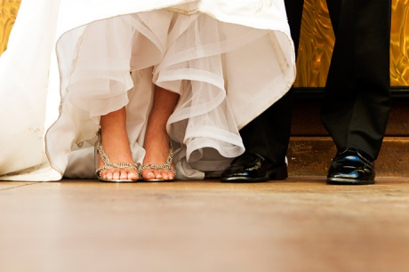 Bride and Groom showing their shoes at the Marina Del Rey Marriott