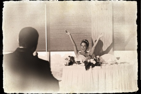 Groom toasts his Bride during their Wedding Reception at the Marina Del Rey Marriott Hotel.