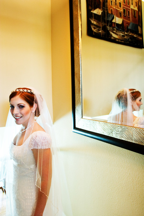 Bride at her parent's house before wedding