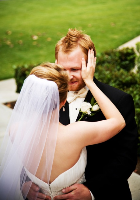 Bride and groom embrace at their first site of each other before their Messiah Lutheran Church Wedding Ceremony in Yorba Linda, California