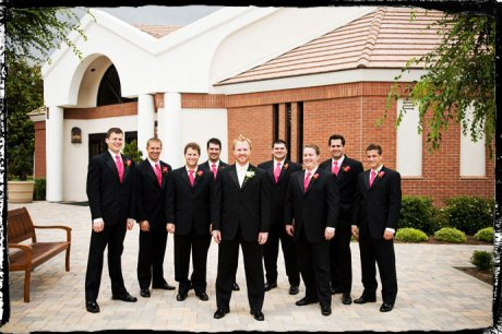 Groom and Groom's Men in front of Messiah Lutheran Church in Yorba Linda, California