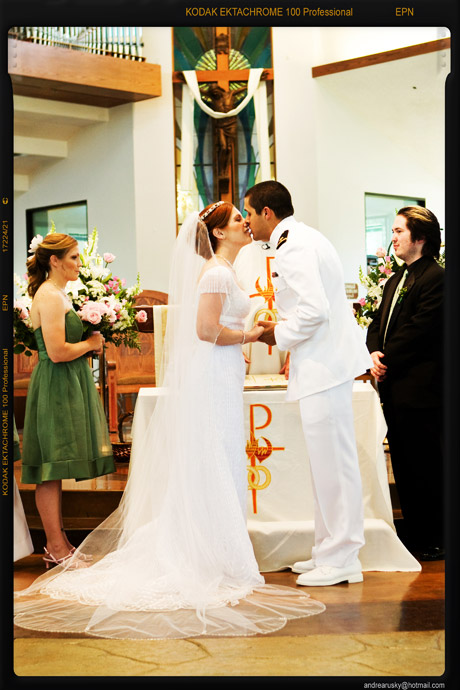 First Kiss at Orange County Catholic Wedding Ceremony