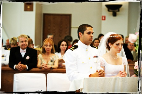 Bride and Groom during their wedding ceremony at a Catholic Church in Fullerton, California