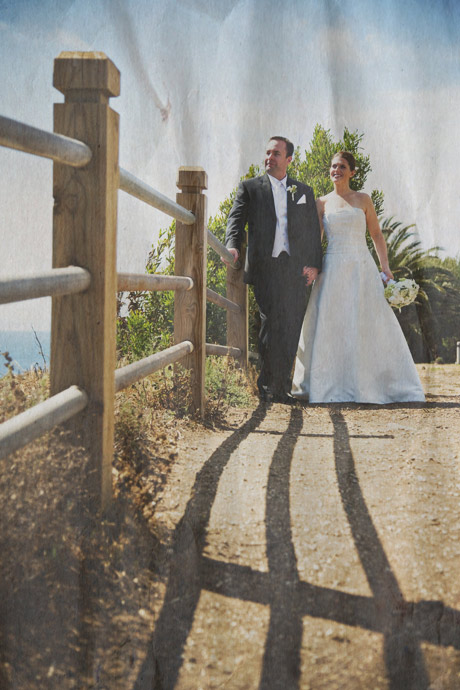 Bride and Groom at Point Vicente Lighthouse Park after their La Venta Inn Wedding