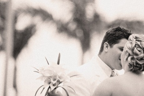 Sepia Toned shot of Bride and Groom's embracing during their first glance at the Hotel Mar Monte