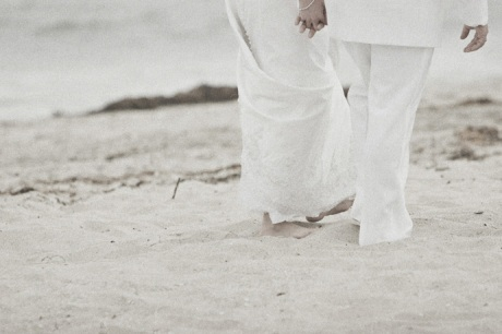 Bride and Groom on a Santa Barbara beach just before their wedding ceremony.