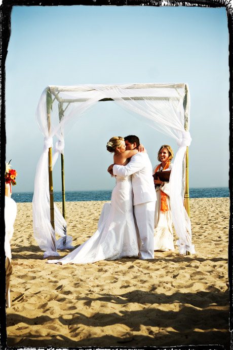 First Kiss at Santa Barbara Beach Wedding Ceremony