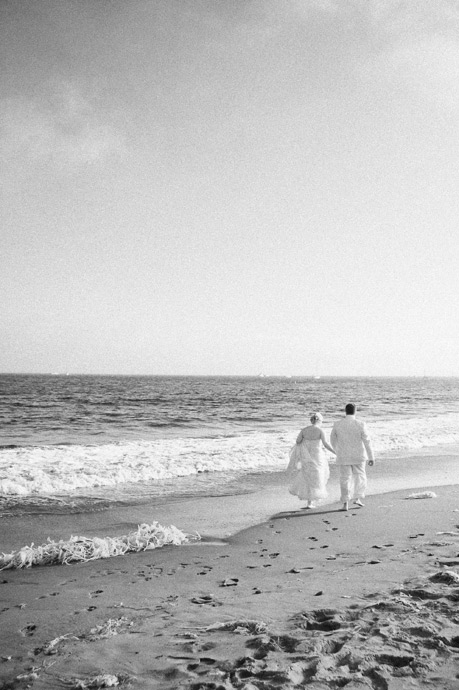 Infrared shot of bride and groom just after their beach wedding in Santa Barbara, California