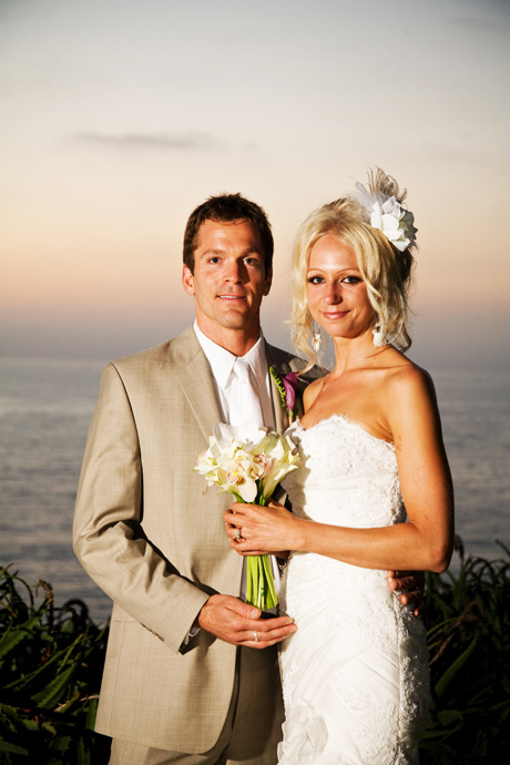 Sunset shot of Bride and Groom at their Martin Johnson House Wedding in La Jolla, San Diego, California