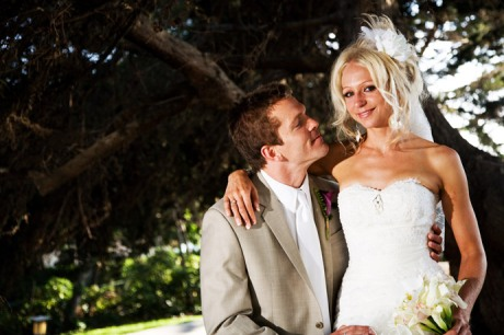 Bride and Groom at the Martin Johnson House in La Jolla, San Diego, California