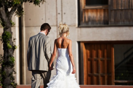 Bride and Groom at Salk Institute with Architecture in La Jolla, San Diego, California