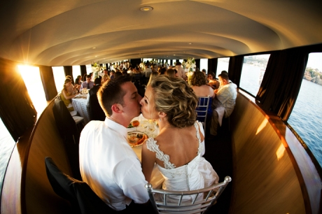 Bride and Groom at their wedding reception aboard Electra Cruises yacht
