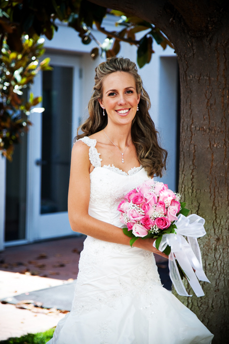Bride at St. James Anglican Church before wedding