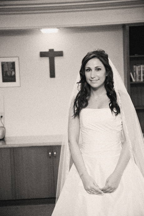 Bride just before her wedding at St. Lawrence Catholic Church in Redondo Beach, Ca