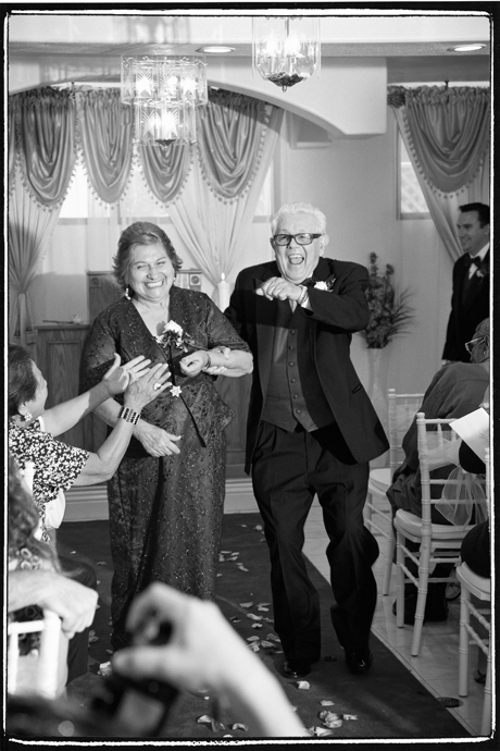 Bride's grandparents celebrating at a Long Beach Wedding Ceremony