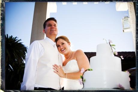 Bride and Groom cut their wedding cake at the Santa Barbara Historical Musem