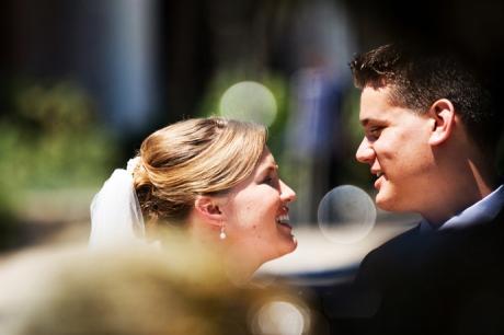 Bride and Groom at the Old Mission Santa Barbara