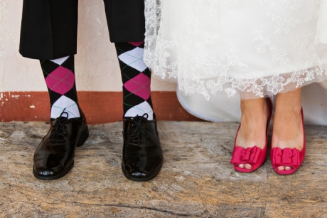 Bride and Groom show their style at the Old Mission Santa Barbara