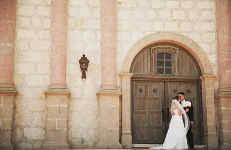 Bride and Groom at the Santa Barbara Mission