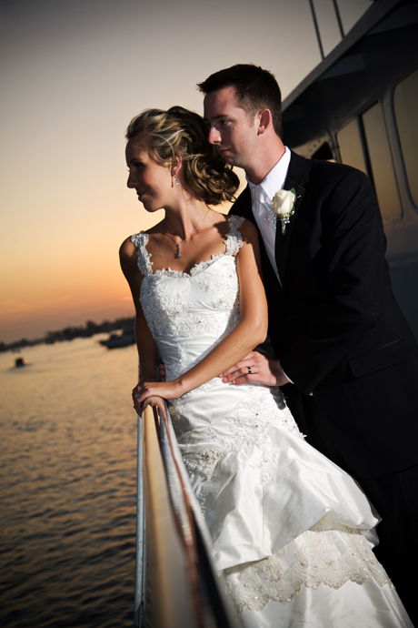 Bride and Groom at sunset aboard Electra Cruises Yacht