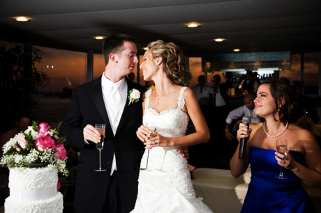 Maid of honor toasts the bride and groom at their wedding reception on Electra Cruises Yacht
