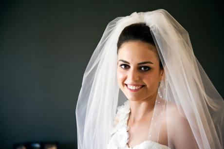 Smiling Bride in Wedding Dress