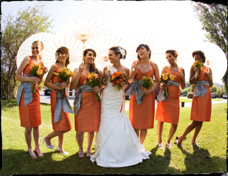 Beautifil Bride and her lovely Bride's Maids at Strawberry Farms Wedding