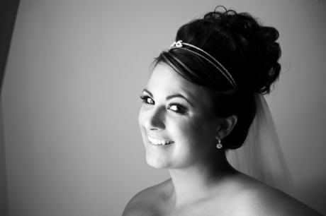 Black and White Window Light Portrait of Bride at Black Gold Golf Club