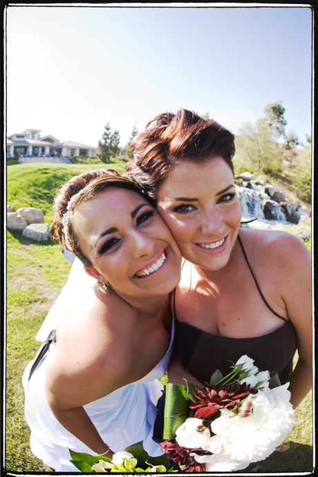 Fisheye Shot of Bride and maid of honor at Black Gold Golf Club Wedding