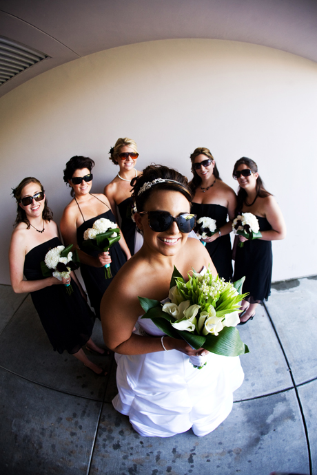 Fisheye shot of Bride and girls at Black Gold Golf Club