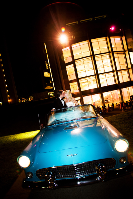Crystal Cathderal Wedding Formal Exit in a Vintage Corvette
