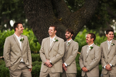Groom and Groom's Men await the bride and girls at Gainey Vineyard Wedding